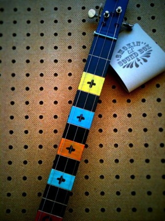 neck detail cigar box guitar