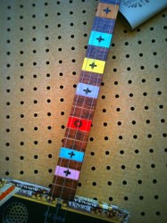 neck detail, three string cigar box guitar
